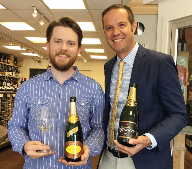 Color de Vino staffer Allan Suddaby with Enguerrand Baijot, Champagne Chanoine and Lanson.