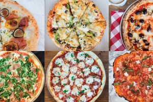 Pizzas provided byclockwise from upper left): Rosso Pizzeria, Royal Pizza, 