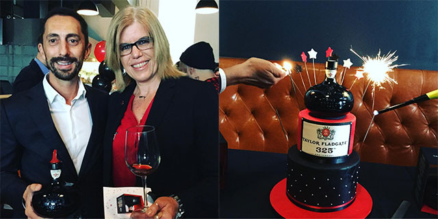Jorge Ramos, Taylor Fladgate with Marcia Hamm, Hicks Fine Wines. The birthday cake by Cake Couture tasted as good as it looked.